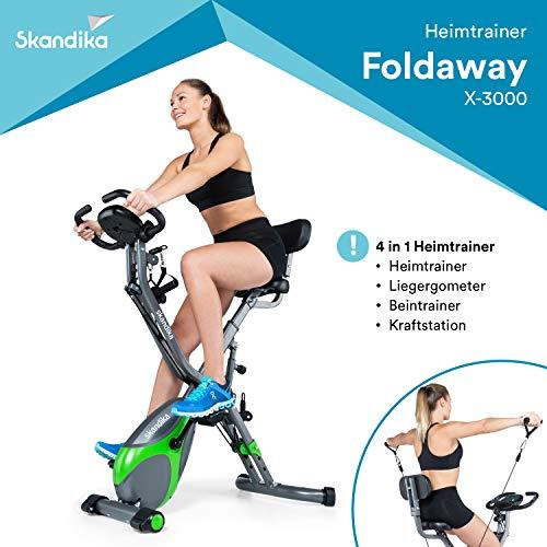skandika Foldaway X-3000 Fitnessbike Heimtrainer X-Bike F-Bike mit Lehne Klappbar mit Handpuls-Sensoren - Ergometer - Hometrainer - Faltbares Fitness-Fahrrad (blau/weiß)