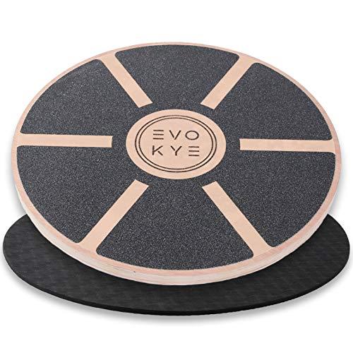 EVO KYE Balance Board (rund) mit Anti-Rutsch-Unterlage - Balancegerät aus stabilem, hochwertigen Holz - optimales Fitness Sportgerät für Zuhause