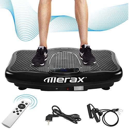 Merax Vibrationsplatte mit Leisem Motor,LCD Display,5 Trainingsprogramme 180 Stufen,Bluetooth Lautsprecher,Inkl. Fernbedienung, Trainingsbänder,belastbar bis 150 kg (Schwarz)