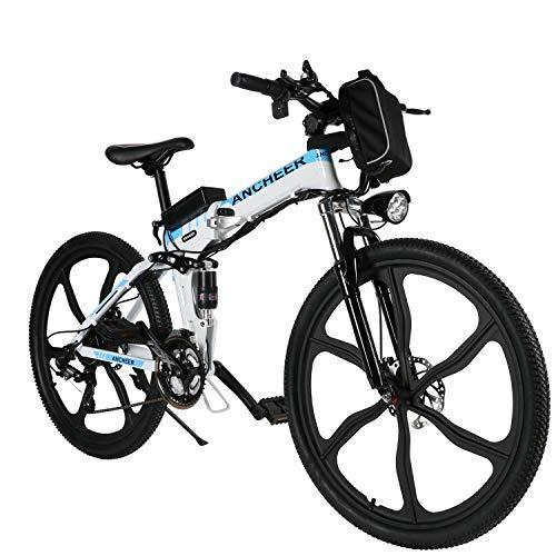 ANCHEER 26 Zoll E-Bike Mountainbike 250W Motor 36V 8AH Lithium Akku 21-Gang, Faltbares Elektrofahrrad Klapprad Pedelec mit 6-Speichen-Rad Vollfederung (Weiß)
