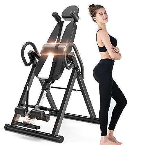 YOLEO klappbarer Schwerkrafttrainer Inversionsbank 136kg 180° volle vertikal mit Rückenkissen Körpergrößenskala Kopfstütze Schutzgürtel
