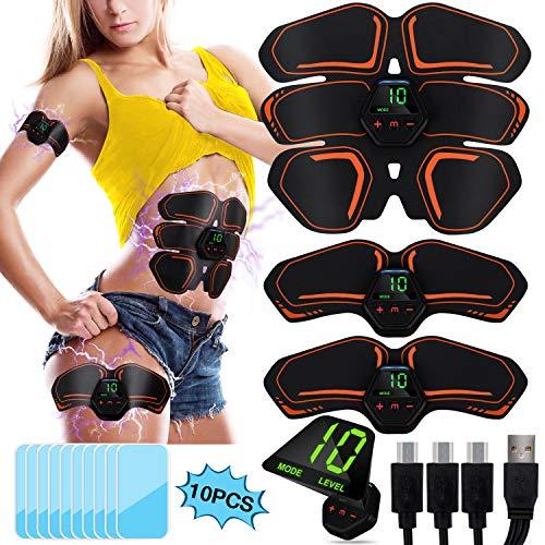 POOKTACK EMS Bauchmuskeltrainer, EMS Trainingsgerät LCD Bildschirm Muskelstimulation Elektrisch ABS Elektrische Muskelstimulator USB-wiederaufladbarer Tragbarer Muskel Trainer für Herren Damen