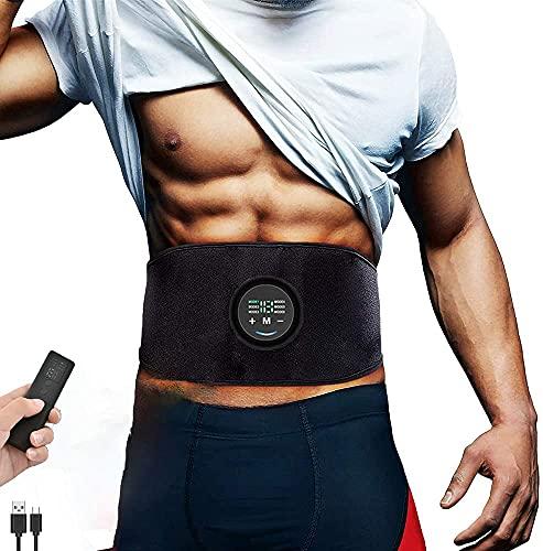 Yonars EMS Trainingsgerät, EMS Bauchmuskeltrainer mit 6 Modi & 18 Intensitäten, USB-Wiederaufladbarer Tragbarer Elektrostimulatoren Bauchtrainer Elektrisch für Bauch