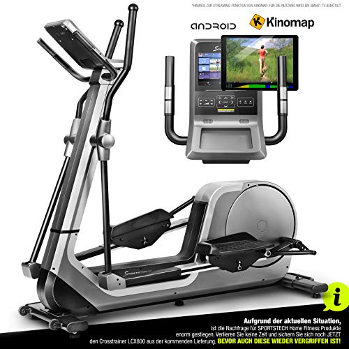 Sportstech LCX800 Crosstrainer – Deutsche Qualitätsmarke - Video Events & Multiplayer APP & Android-Multifunktionskonsole, 24Kg Schwungmasse, Pulsgurt-Kompatibel, 12 Trainingsprogramme + HRC Modus