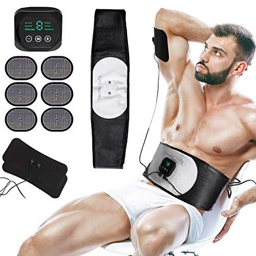 MATEHOM EMS Trainingsgerät, EMS Bauchmuskeltrainer, USB-Wiederaufladbarer Tragbarer Muskelstimulator, Bauchtrainer Elektrisch für Bauch, Arm, Bein-Fitness Trainings Gang