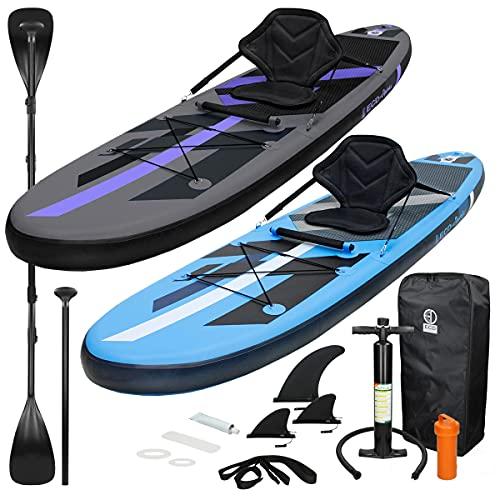 ECD Germany Aufblasbares Stand Up Paddle Board Set mit Kajak Sitz, Schwarz, 305x78x15 cm, aus PVC, Alu-Paddel, Komplettes Zubehör, SUP Board Paddling Board Paddelboard Surfboard Surfbrett Paddelbrett