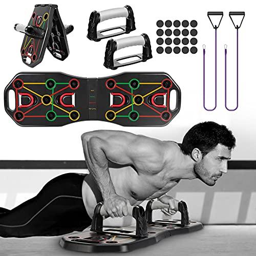 Fostoy Push Up Board, Faltbar Liegestütze Brett Multifunktionales Liegestützgriffe mit Widerstandsbändern und Handgriffe für Männer Frauen Muskelaufbau Fitnesstraining