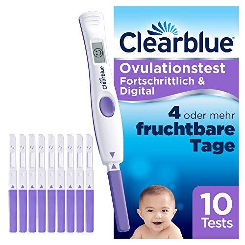 Clearblue Kinderwunsch Ovulationstest-Kit Fortschrittlich & Digital. Nachweislich doppelte Chancen, schwanger zu werden, 1 digitale Testhalterung und 10 Tests