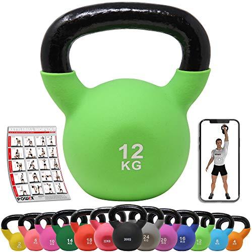 POWRX Kettlebell Neopren 2-26 kg inkl. Workout I Kugelhantel in versch. Farben und Gewichten I Bodenschonende Schwunghantel (12 kg (Hellgrün))