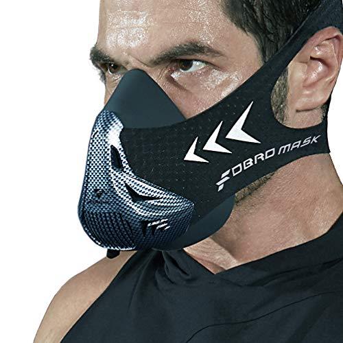 FDBRO Trainingsmaske Workout Maske- - High-Altitude-Endurance-Maske erhöht die Kraft, Laufwiderstand Sportmaske mit Tragetasche (Kohlefaser, L)