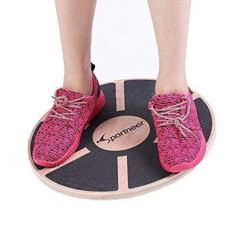 Sportneer Balance Board Wackelbrett Holz Durchmesser 40cm Gleichgewicht Board- professionel für die Übung, Gym, Sport Performance Enhancement, Rehab, Ausbildung