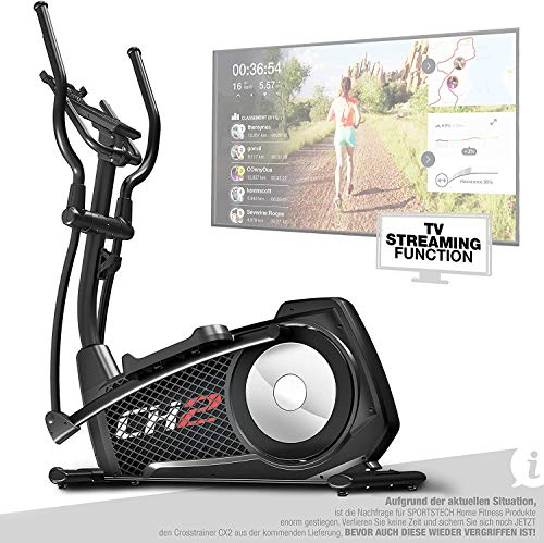 Sportstech CX2 Crosstrainer für Zuhause | mit Stromgenerator | Deutsches Qualitätsunternehmen | Interaktive Video-Events & Multiplayer-App | Ellipsentrainer, Ergometer + Konsole & 27 kg Schwungmasse