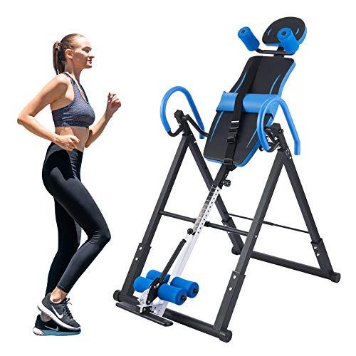 Z ZELUS Inversionsbank Inversionstisch Multifunktionsgerät Rückentrainer Schwerkrafttrainer klappbar Inversionstisch Heimtrainer Inversion Table, Inversion bis 180 Grad (Blau)