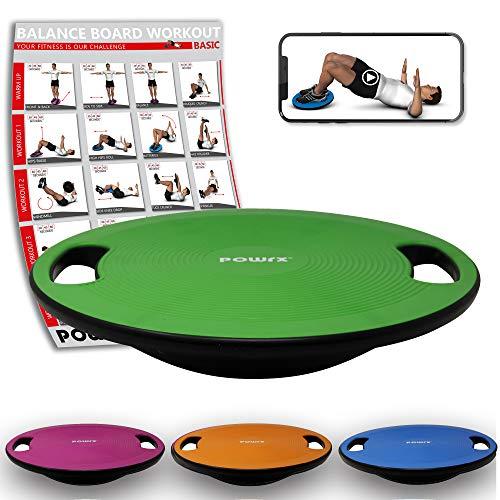 POWRX Balance Board inkl. Workout I Wackelbrett Ø 40cm mit Griffen I Therapiekreisel für propriozeptives Training und Physiotherapie Grün