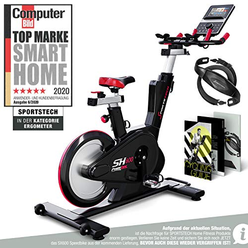 Sportstech Elite Indoor Cycle Bike – Deutsche Qualitätsmarke - Video Events & Multiplayer APP, computergesteuertes Magnetbremssystem,26KG Schwungrad,SX600 Speedbike Sportlenker, Ergometer inkl. eBook