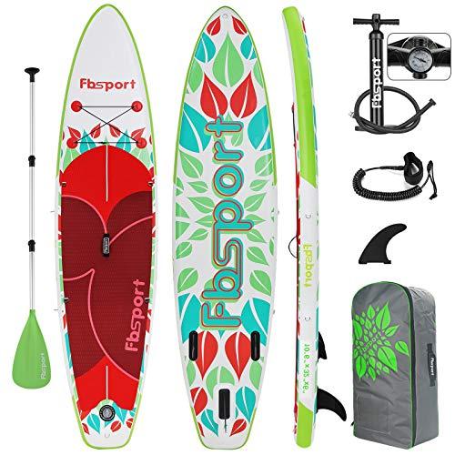 FBSPORT SUP Board, 6 Zoll Dick Aufblasbares SUP Board, Aufblasbare Board für Stand-up Paddling, mit Luftpumpe, Komplettes Zubehör | Surfboard Kit:320x80x15cm