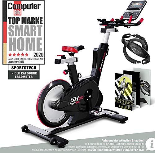 Sportstech Elite Indoor Cycle Bike | Deutsches Qualitätsunternehmen | Video Events & Multiplayer App | computergesteuertes Magnetbremssystem + 26kg Masse | Speedbike Ergometer + Sportlenker | SX600