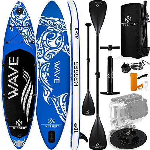 KESSER® Aufblasbare SUP Board Set Stand Up Paddle Board | 320x76x15cm 10.6' | Supboard Premium Surfboard Wassersport | 6 Zoll Dick | Komplettes Zubehör | 130kg Blau