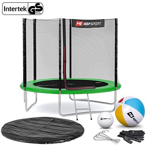 Hop-Sport Gartentrampolin Outdoor Trampolin 244, 305, 366, 430, 490 cm Komplettset inkl. Außennetz Leiter Wetterplane Bodenhaken 244cm