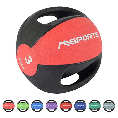 MSPORTS Medizinball Premium mit Griffe 1 – 10 kg – Professionelle Studio-Qualität Gymnastikbälle (3 kg - Rot)