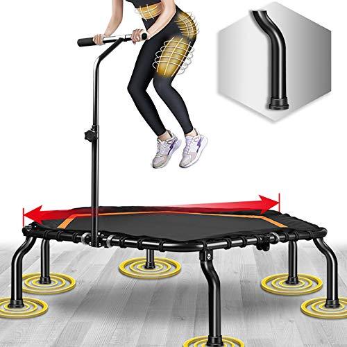 Fitness Trampolin,Ø ca 127 cm, Jumping Fitness Trampolin mit höhenverstellbarer Haltegriff für Indoor,bis 250lbs Benutzergewicht
