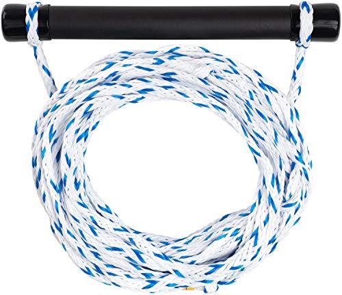 MESLE Wasserski & Wakeboard Leine Set, schwimmfähig, Soft-Griff Hantel, Länge 18,3 m, schwimmend, Zug-Seil Wassersport Schleppleine, grün-blau, Weiss-blau, Farbe:Weiss blau
