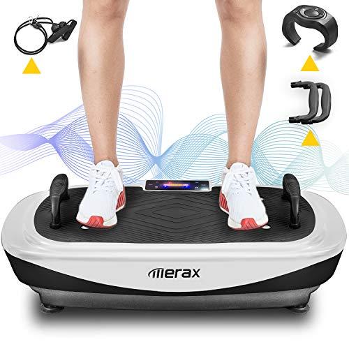 Merax 4D Vibrationsplatte 7 Trainingsprogramme,99 Stufen, 3 leisen Motoren, LED-Display, Bluetooth Lautsprecher, Fernbedienung, Bluetooth Lautsprecher, Schlaufenbändern, Push-up-Griffe(Schwarz+ Weiß)