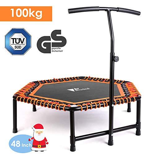 amzdeal Fitness Trampolin Indoor Trampolin für Jumping mit höhenverstellbarem T-förmigem Haltegriff für Kinder und Erwachsene Fitness