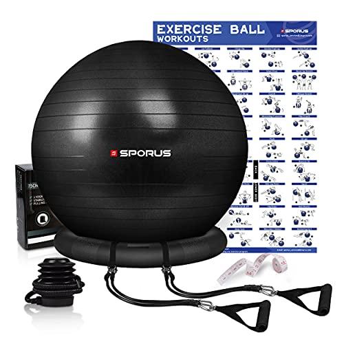 Sporus Gymnastikball mit Ballschale, Anti-Burst Fitnessball 65 cm Stuhl System und Widerstandsbändern, für Büro, Balance, Yoga & Fitness inkl. Schnellpumpe und Übungen-Poster Schwarz