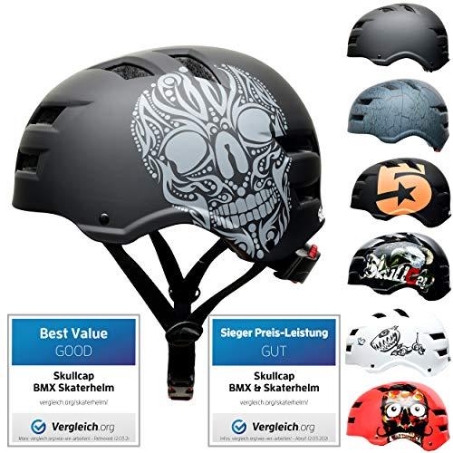 Skullcap® Skaterhelm & Fahrradhelm I für Kinder ab 5 & Erwachsene ab 14 I Skater-Helm für BMX E-Scooter Inliner Fahrrad Skateboard Tretroller,SKULL(L,58-61)