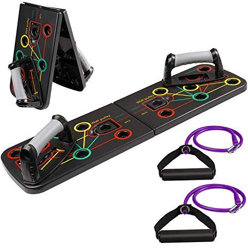 arteesol 9 in 1 Push Up Board, Multifunktionale Liegestütze Brett,Push-up Board mit Widerstandsband,Faltbare Fitnessgeräte für Fitness und Heimtraining
