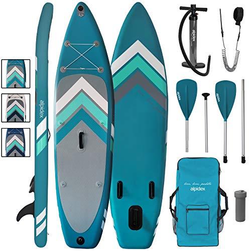 ALPIDEX Stand Up Paddle Set SUP 305 x 76 x 15 cm Belastbar bis 110 kg Aufblasbar Stabil Leicht Komplett Set Tragetasche Paddel Finnen Luftpumpe Leash Repair Kit, Farbe:Petrol/Grey