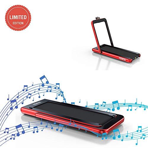 Fitifito ST100 Edles Laufband Profilaufband 1.0-12 km/h - Bluetooth - Fernbedienung komplett klappbar und verstaubar - Handy-/Tablethalter Blau