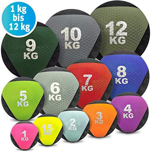 Medizinball farbig - Gummimedizinball in 1 kg, 1,5kg, 2kg, 3kg, 4kg, 5kg, 6kg, 7kg, 8kg, 9kg, 10kg, 12kg Gewichtsball Krafttraining, Crossfit, Bodybuilding, Slamball, Wallball, Reha und Fitness