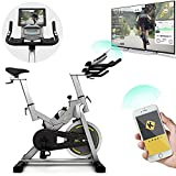Bluefin Fitness TOUR SP Hometrainer Bike   Heimtrainer SP Speed Fahrrad Trainingsfahrrad   Kinomap Smartphone App - Live Video Coaching & Training   Bluetooth   Schwarz & Grau Silber