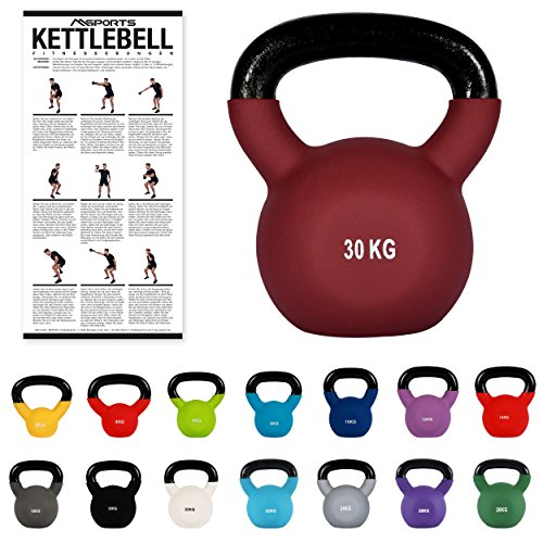 MSPORTS Kettlebell Neopren 2 – 30 kg inkl. Übungsposter Kugelhantel (30 kg - Bordeaux)