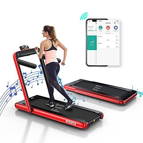 Fitifito ST100 2021 Edles Laufband Walkingpad im Büro Mini klein zuhause 1.0-12 km/h Bluetooth Fernbedienung komplett klappbar verstaubar mit Handyhalter Dualer Bildschirm (rot)
