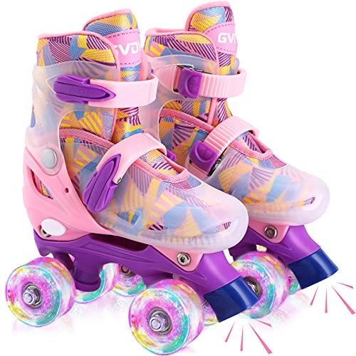GVDV Rollschuhe Mädchen Verstellbar - LED Roller Skates Beleuchtete für Kinder und Jugendliche, Quad Rollerskates Kompletter Schutz für Anfänger, Rosa …