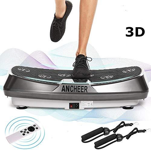 ANCHEER 2 Motoren 3D Vibrationsplatte für Body Shape Muskelaufbau, Power Fitness Vibrationstrainer mit Trainingsbändern+ Fernbedienung+ Curved Design, Ganzkörper Oszillation Vibration Plate (Silver)