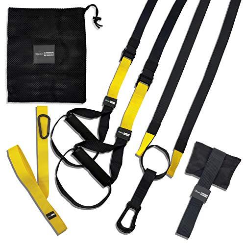 CLEAN Sports® Schlingentrainer Set für Krafttraining zuhause Sling Trainer mit Türanker für Ganzkörpertraining, Trainingsband mit Griffen für Home Training und Workout