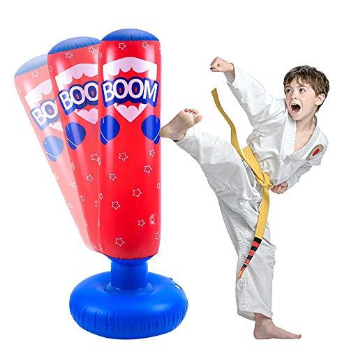 JanTeelGO Boxsack Kinder 120 cm, Standboxsack für Sofortiges Zurückprallen zum Üben von Kickboxen, Karate, Taekwondo, um Pent Up Energy zu entlasten (Rot-E, 120cm)