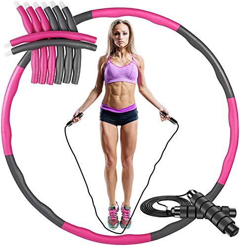 ACPURI Hula Hoop Reifen Erwachsene, Fitness Hoola Hoop Kinder Schaumstoff, Abnehmbarer 6-8 Knotens, Φ95cm/1,2 kg - mit 2,8m Springseil