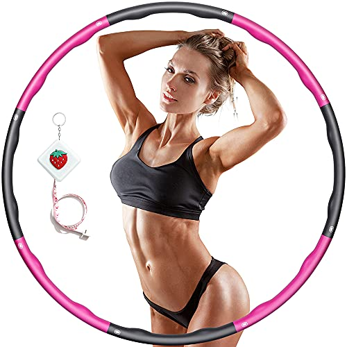 Hula Fitness Reifen Hula Fitness für Erwachsene & Kinder zur Gewichtsabnahme und Massage, Schaumstoff gepolstert 8 Wellenabschnitte Spleißen Abnehmbar Hula-Fitness-Reifen (Rosa grau)