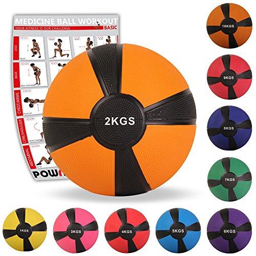 POWRX Medizinball Gewichtsball 1-10 kg | versch. Farben (2 kg/Orange)