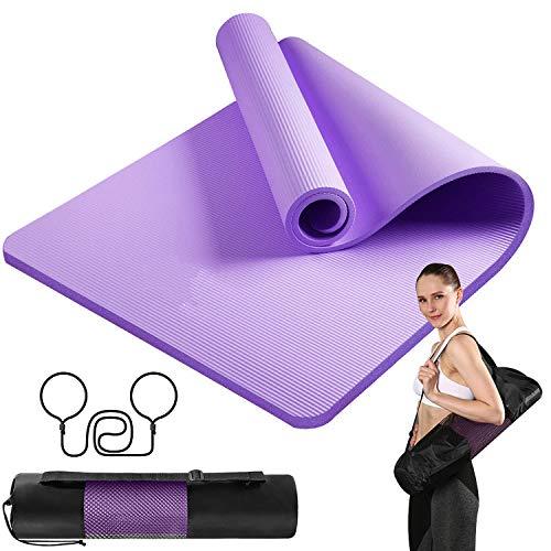 Yogamatte 10mm NBR Jogamatte,Pilates Yogamatte,Fitnessmatte Rutschfest,Gymnastikmatte,Sportmatte für Yoga Pilates Fitness Workout & Gymnastik Trainingsmatte 183 x 61 cm