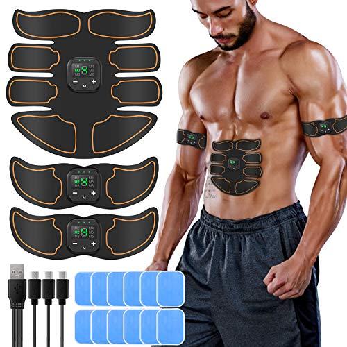 SUNGYIN EMS Muskelstimulator bauchtrainer ABS Trainingsgerät Professionelle USB Elektrostimulation Elektrisch Bauchmuskeltrainer Fitnessgürtel für Damen Herren (Orange)
