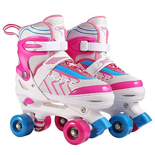 Hikole Rollschuhe für Kinder Roller Skates für Anfänger größenverstellbare (Größe 31-38) ABEC 7, Bequem und atmungsaktiv Quad Skates für Mädchen, Jungen, Jugendliche