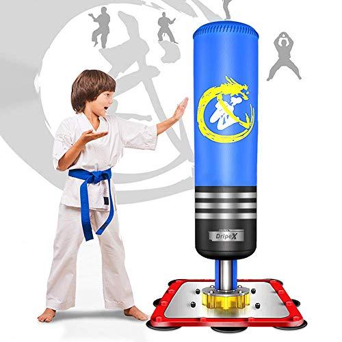 Dripex Boxsack Kinder Freistehender 130cm Standboxsack Boxpartner Boxing Trainer Punching Bag(Blau)