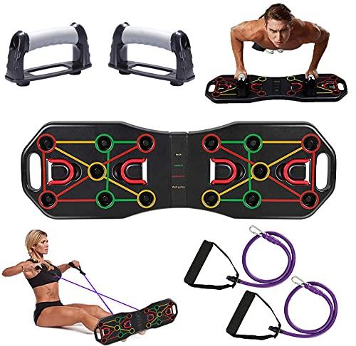 Delgeo Push up Board, Multifunktionale Fitness Geräte Liegestützgriffe, Fitnessgeräte Faltbares, Geeignet für Muskeltraining Fettabbau Training