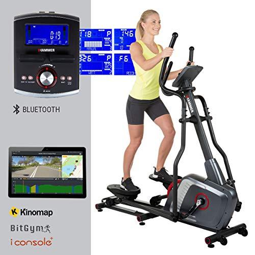 HAMMER Ellipsentrainer Speed-Motion BT, leises Trainingsgerät mit Bluetooth und App-Steuerung, Smartphone- und Tablethalterung, Cardiogerät mit Handpulssensoren, 22 Programme, 163 x 53 x 164 cm